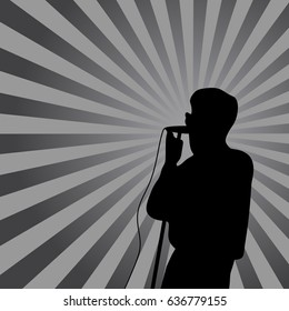 Singer in silhouette with ray on background. for poster, banner design.