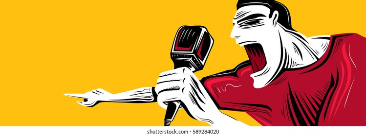 Singer singing, with Mic. (Vector Art)