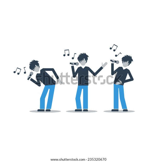 Singer Singing Song Different Poses Live Stock Vector
