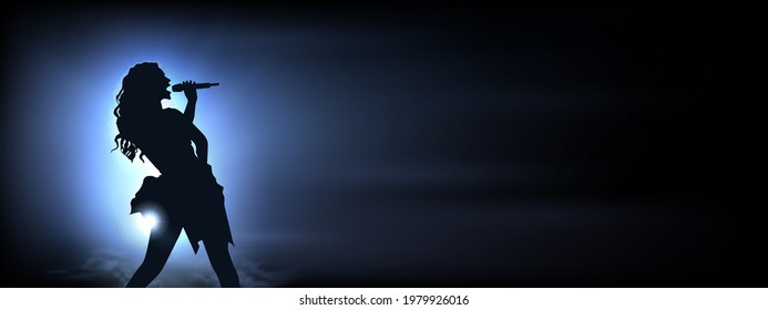 Singer under the glowing blue Bright Lights. Original Vector Illustration. Silhouette of a female singing with blue spotlights in the background. Ideal for Live Music Concept