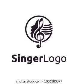 Singer Vocal Karaoke / Choir with Music Notes Treble Clef - Singing Woman Face Silhouette logo design