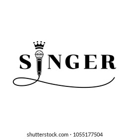 singer word design with microphone and waving wire in elegant black