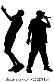 Singers, men in rap style on white background