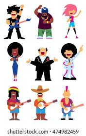 Singers silhouette of different musical genres set isolated on white background vector illustration. Isolated vector singers characters rockstar, reggae singer, rap singer. Funny cartoon singer icon.