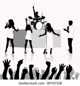 Singers silhouette  .Vector illustration