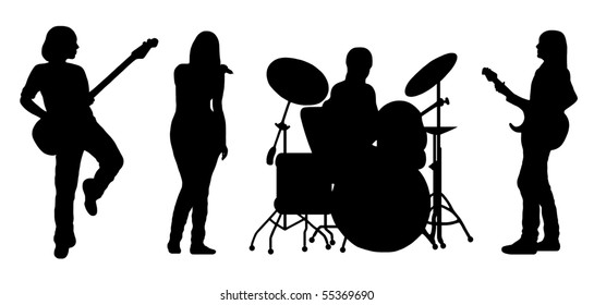 singing band silhouette vector