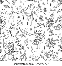 Singing bird and flowers. Seamless pattern. Vector backdrop. Summer template. Use for wallpaper,pattern fills, web page background. Pages for adults coloring book.