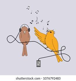 Singing bird and listening bird