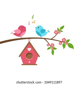 Singing bird on branch. Spring scene with flowers, trees and a birdhouse. Vector illustration on white background.