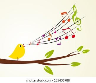 singing bird on a branch (Vector illustration) d385a9de551cf