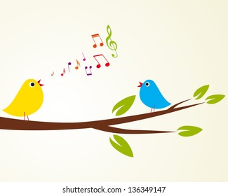 singing bird on a branch (Vector illustration)