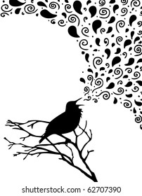 singing bird silhouette  illustration