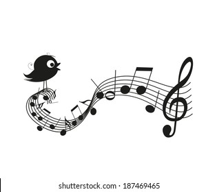 Singing bird silhouette with music notes