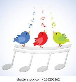 Singing birds. Vector illustration of three little birds singing happily with musical notes.
