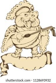 Singing cat the megieval minstrel. Design for t-shirt, poster. tattoo. Engraved style. Vector illustration