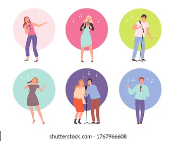 Singing characters. Adult people in karaoke club singing solo popular music vector persons isolated