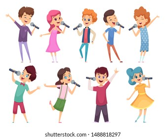 Singing childrens. Male and female kids standing with microphones music performance karaoke talent vector cartoons