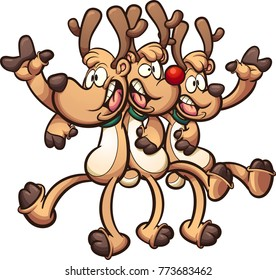Singing Christmas reindeer. Vector clip art illustration with simple gradients. All in a single layer.