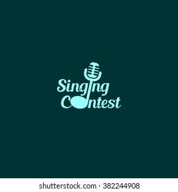 Singing contest logo design template. Vector illustration. Best use for advertisement, publication, concert, awards, ceremony. Dark green background