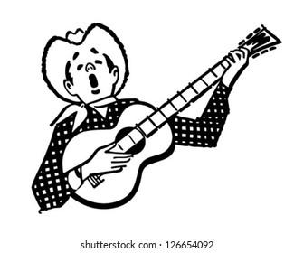 Singing Cowboy - Retro Clipart Illustration