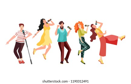 Singing and dancing with microphones young people. Girls and guys have fun at karaoke. Vector illustration