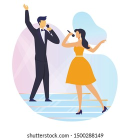Singing Duet Performance Flat Vector Illustration. Young Man in Tuxedo and Woman in Dress Cartoon Characters. Talented People with Microphones, Professional Singers on Stage. Karaoke Show