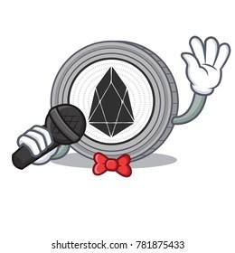Singing EOS coin character cartoon