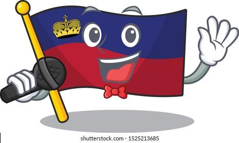 Singing flag liechtenstein folded above mascot table