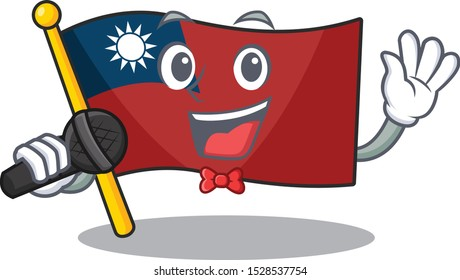 Singing flag taiwan mascot isolated the cartoon