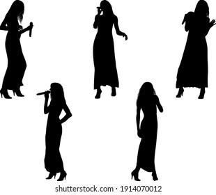 singing girl silhouettes - vector illustration