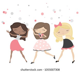 Singing girls dancing vector illustration