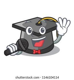 Singing graduation hat mascot cartoon