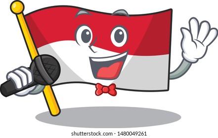 Singing indonesian flag folded