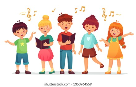 Singing kids. Music school, kid vocal group and children choir sing. Children singing performance or school karaoke singer character. Cartoon vector illustration isolated icons set