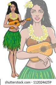 Singing lady playing ukulele guitar. Beautiful smiling female in Hawaii traditional dress and Hawaiian flower lei necklace. Vector illustration in pop art, comic, pin up style. Isolated mascot poster.