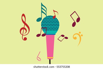singing mic abstract graphics with music notes