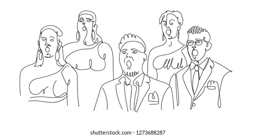 Сhoir singing. Mixed choir singing a cappella. One line vector illustration.