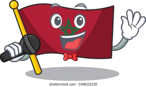 Singing morocco flag character above cartoon chair