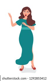 Singing an Opera singer is unusual and elegant. Performance on stage or in the theater. Performer of Opera arias.  Vector illustration of people singing vocal art