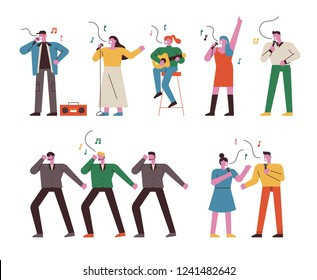 singing people character set. flat design style vector graphic illustration.