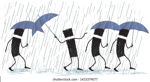 Singing in the rain, isolated on white background. Illustration of various people walking. All are protected from the rain with an umbrella, but one ... He is happy, singing in the rain.