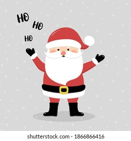 Singing Santa Claus on background with snowflakes. Christmas decoration. Vector