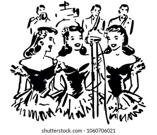 Singing Sisters - Retro Clip Art Illustration