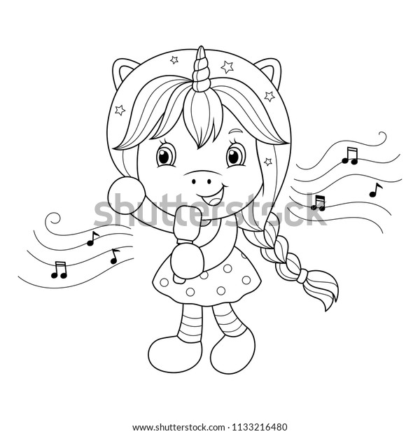 Singing Unicorn Girl Microphone Coloring Page Stock Vector (Royalty Free)  1133216480