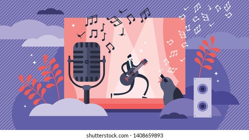 Singing vector illustration. Flat tiny musical performance persons concept. Abstract sound concert festival with band vocal entertainment show. Stage karaoke melody with studio rock, pop composition.