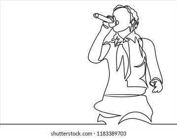singing woman with microphone in hands vector illustration. musical band vocalist.continuous line drawing