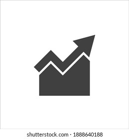 Single arrow growing pointing up on chart graph bars icon, success graph trending upwards flat design interface infographic element for app ui ux web button, vector isolated on white background