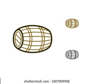 Single barrel whiskey. Premium class of whisky - Single cask whisky. Oak wine cask icon. Aging of wine. Vector illustration.