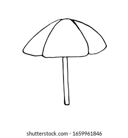 Single beach umbrella. Vector drawing in Doodle style. Isolated on a white background. Theme of summer design and decor. Coloring book for children and adults.