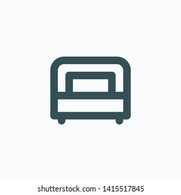 Single bed isolated icon, apartment bedroom linear vector icon